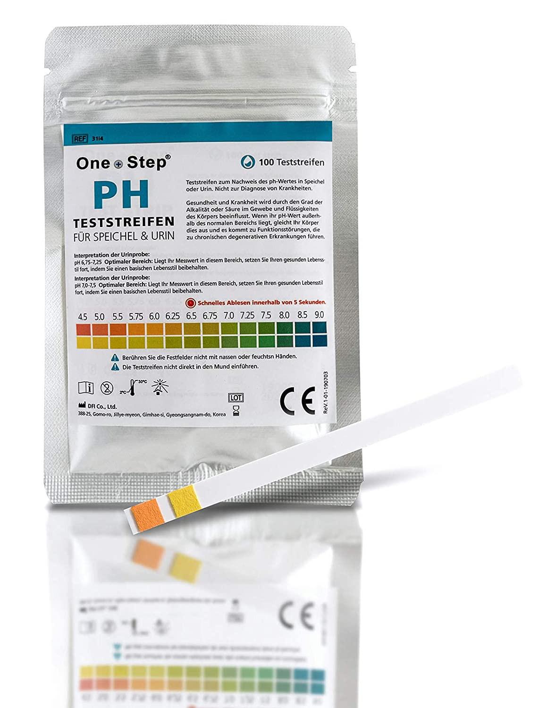 100 One+Step pH Wert Teststreifen für Urin UND Speichel - pH Test zur Ermittlung ph Wert_ Amazon.de