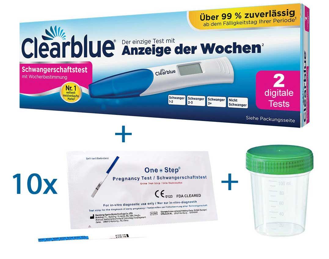 Clearblue Digital Schwangerschaftstest mit Wochenbestimmung plus Urinprobebecher