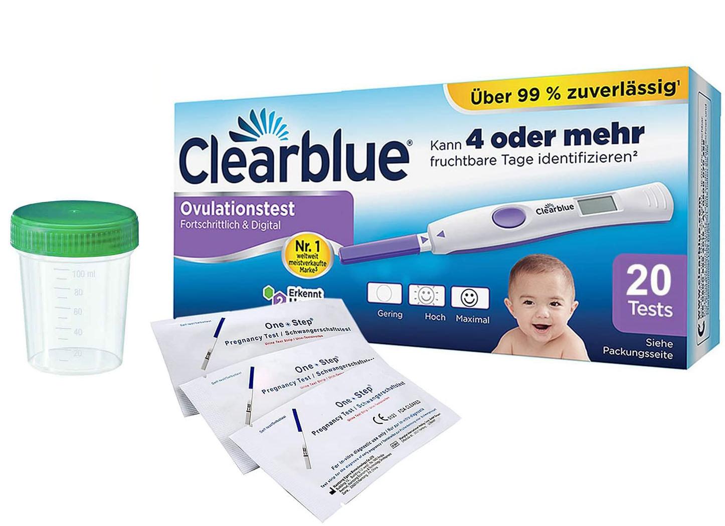 Clearblue Ovulationstest Fortschrittlich & Digital, 20 Tests, 1er Pack (1 x 20 Stück) plus 5 OneStep Schwangerschaftstests 10 miu_ Amazon.de_ Drogerie & Körperpflege_plus_Urinprobenbecher