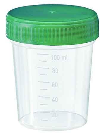 5 x Urinprobenbecher mit grünem Schraubdeckel, 125 ml