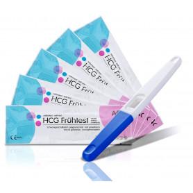 5 AFAC Schwangerschaftstests (Mittelstrahltest) 10miu/ml + Urinprobebecher
